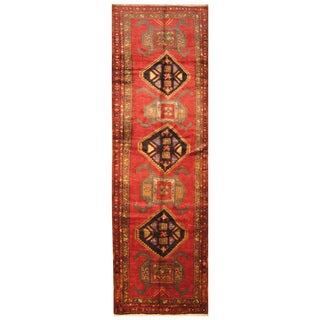 Handmade Herat Oriental Persian Hand-Knotted Hamadan Wool Runner (4' x 13'2)