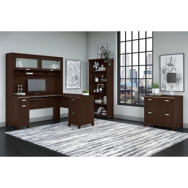 Tuxedo L Shaped Desk with Hutch, File Cabinet and 5 Shelf Bookcase