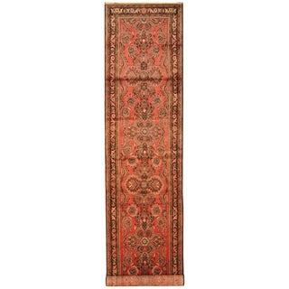 Handmade Herat Oriental Persian Hand-Knotted Hamadan Wool Runner (3'5 x 16'3)