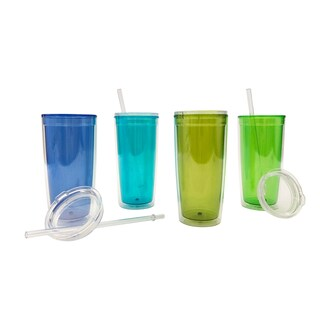 Set of 4 20oz Insualted Plastic Tumblers with Lid and Straw (Option: Blue)