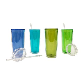 Set of 4 20oz Insualted Plastic Tumblers with Lid and Straw