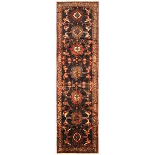 Handmade Herat Oriental Persian Hand-Knotted Hamadan Wool Runner - 3'10 x 14'8