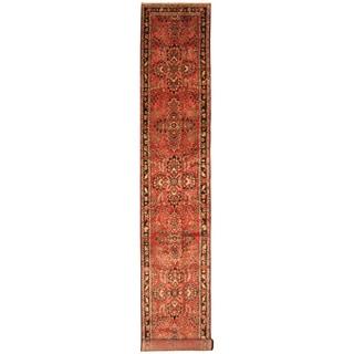 Handmade Herat Oriental Persian Hand-Knotted Hamadan Wool Runner (3' x 18'9)
