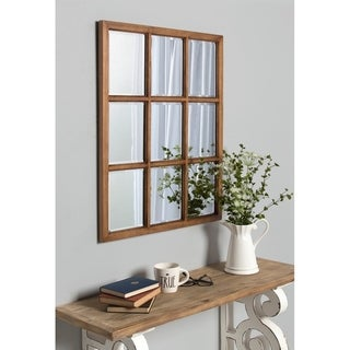 Kate and Laurel Hogan 9 Windowpane Wood Wall Mirror - 26x32
