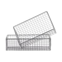 UTC45501: Metal Rectangle Wire Basket with Mesh Design Body and Rectangle Cutout Side Handles Set of Two Metallic Finish Gray