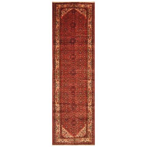 Handmade Herat Oriental Persian Hand-Knotted Hamadan Wool Runner (3'10 x 13'10) - 3'10 x 13'10 (Iran)