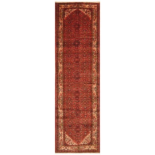 Handmade Herat Oriental Persian Hand-Knotted Hamadan Wool Runner - 3'10 x 13'10