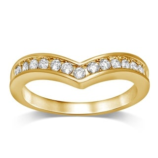 Unending Love 1/4 CT TW 10K Yellow Gold Chevron Wedding Band(IJ-I2 I3