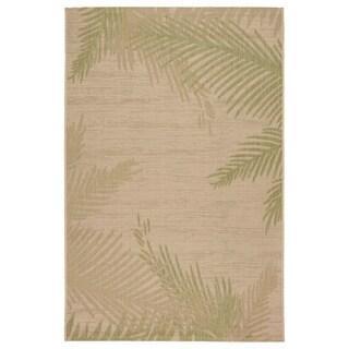 LR Home Captiva Verdant Palms Beige/ Pea Polypropylene Rug - 5' x 7'