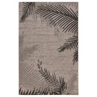 LR Home Captiva Shaded Palms Beige/ Black Polypropylene Rug - 5' x 7'