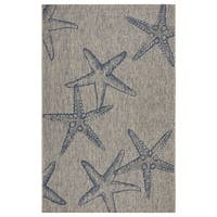 LR Home Captiva Starry Shores Gray/ Navy Polypropylene Rug - 5' x 7'