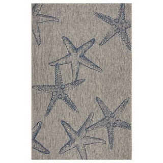 LR Home Captiva Starry Shores Gray/ Navy Polypropylene Rug - 5' x 7'