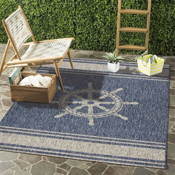 Lr Home Captiva Nautical Helm Indoor Outdoor Area Rug 7 X27 9