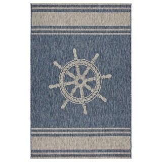 """LR Home Captiva Nautical Helm Indoor/Outdoor Area Rug (7'9""""x9'5"""") - 7'9 x 9'6"""