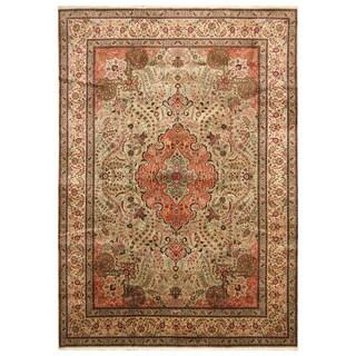 Handmade Herat Oriental Persian Hand-Knotted Kashan Wool Rug (Iran) - 8' x 11'4