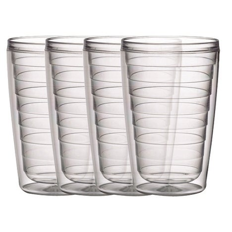 BPA free Insulated 16 oz Plastic Tumblers, 4 Piece Set