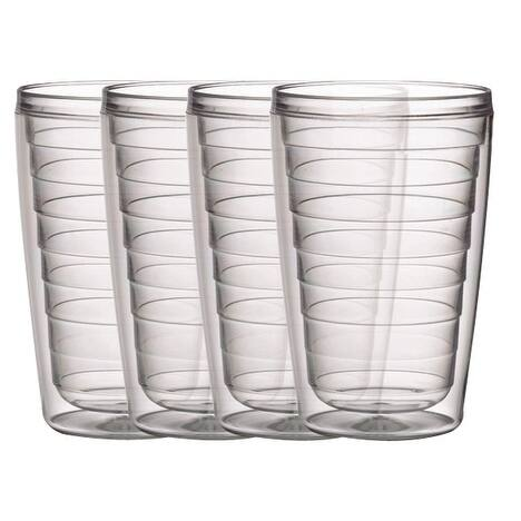 BPA free Insulated 16 oz Plastic Tumblers, 4 Piece Set