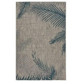 LR Home Captiva Tropical Palms Gray/ Blue Polypropylene Rug - 5' x 7'
