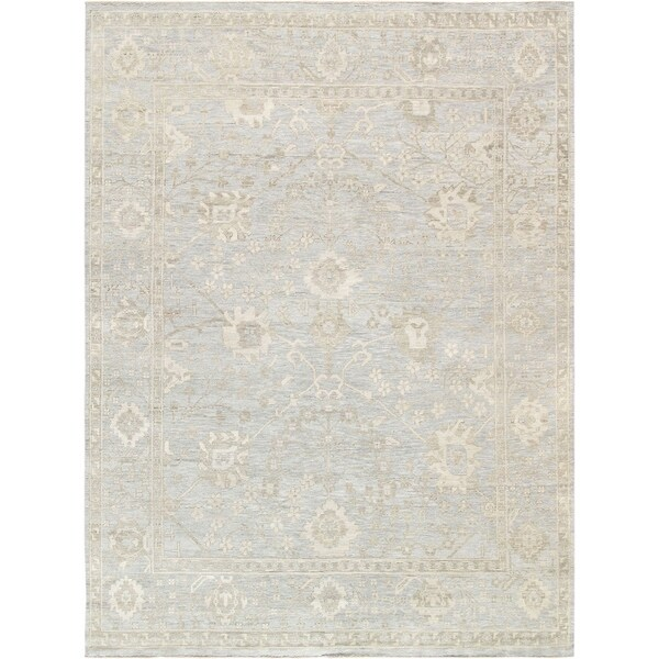 """Pasargad Home Oushak Collection Light Blue Hand-Knotted Wool Rug (6' 0"""" X 9' 3"""") - 6' 0"""" X 9' 3"""""""