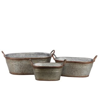 UTC42109: Metal Oval Bucket with Ribbed Design Body, Rust Effect Edges and Side Handles Set of Three Galvanized Finish Gray