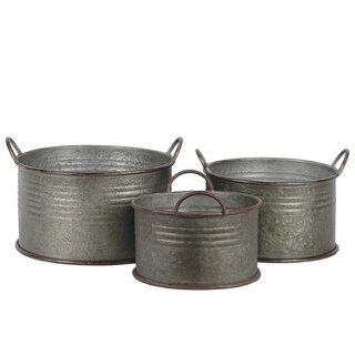 UTC42113: Metal Round Bucket with Ribbed Design Body, Rust Effect Edges and Side Handles Set of Three Galvanized Finish Gray