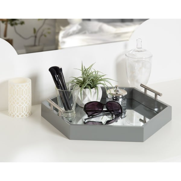 Kate and Laurel - Lipton Hexagon Decorative Tray with Metal Handles