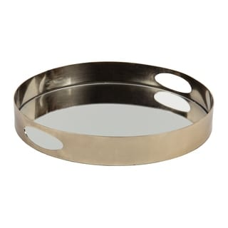 Kate and Laurel Angeline Round Mirrored Metal Decorative Tray