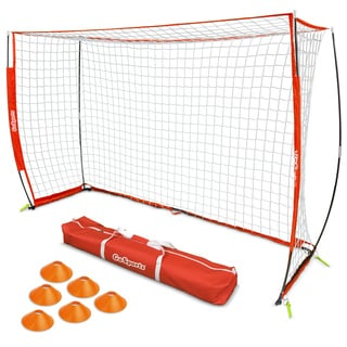 GoSports ELITE Futsal Soccer Goal - 3M x 2M Size, Foldable Bow Frame and Net - Includes Carry Bag and Agility Cones