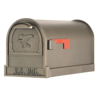Solar Group Gibraltar Arlington Steel Post Mounted Mailbox Bronze 11 in. H x 21-1/2 in. L