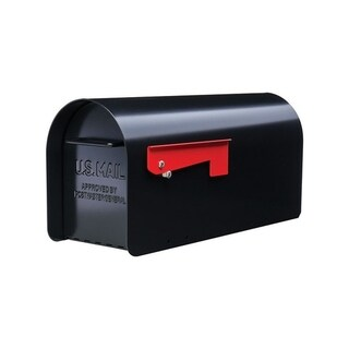GIBRALTAR Sleek, traditional Galvanized Steel Post Mounted Mailbox black 9.6 in. H x 20.3 in. L