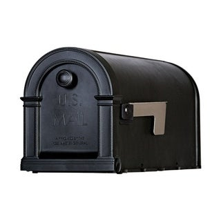 Solar Group Gibraltar Lincoln Plastic Post Mounted Mailbox Black 10 in. H x 20 in. L