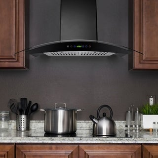 "AKDY RH0318 36"" Wall Mount Range Hood Stainless Steel Black Remote Timer Kitchen Stove"