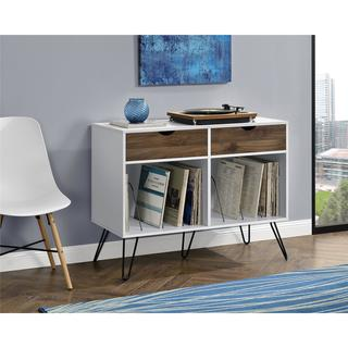 Novogratz Concord White Turntable Stand with Drawers