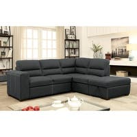 Furniture of America Reuben Contemporary 2-piece Graphite Nubuck Sleeper Sectional Set with Ottoman