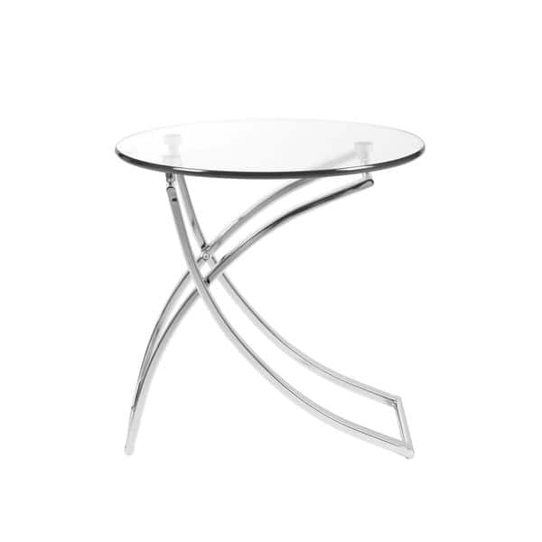 Talisa Round Side Table In Clear Gl With Chrome Base