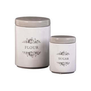"UTC50917: Ceramic Cylinder Canister with Gray Top, Floral Drawing and ""Sugar"" ""Flour"" Writing Design Body S/2 Gloss Finish White"