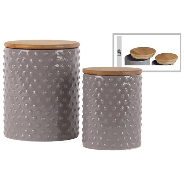 Round Ceramic Canister with Pimpled Design Body and Bamboo Lid Set of Two Gloss Finish Gray
