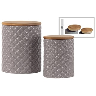 Round Ceramic Canister with Lattice Diamond Design Body and Bamboo Lid Set of Two Gloss Finish Gray