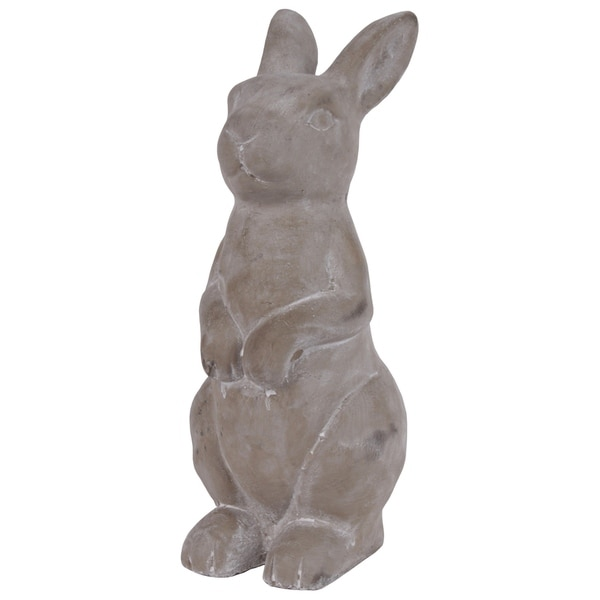 UTC53702: Cement Sitting Upright Rabbit Figurine with Hands in Front Concrete Finish Gray