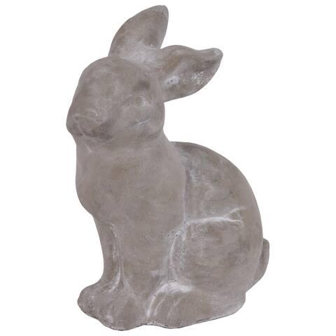 UTC53703: Cement Sitting Rabbit Figurine Concrete Finish Gray