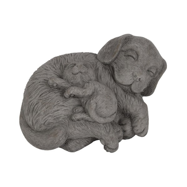 UTC28353: Cement Laying Beagle Dog Figurine with Kitten on Stomach Concrete Finish Gray