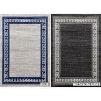 Persian Rug 2054 Modern Greek Multicolor (7'10x10'6) Area Rug - 7'10 x 10'6