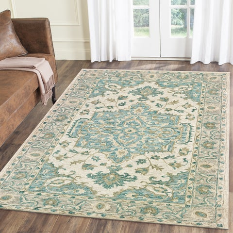 LR Home Modern Traditions Credenda Turquoise Area Rug ( 5' x 7' ) - 5' x 7'9