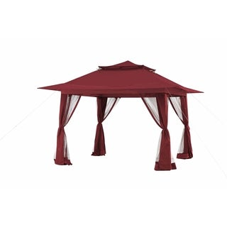 Sunjoy 11 x 11 Red Pop-up Gazebo w/Netting & Curtain