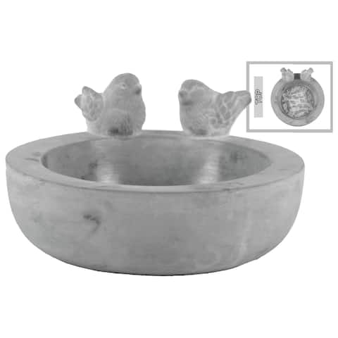 UTC53608: Cement Round Bowl with Bird Figurine and Engraved Design Surface Washed Concrete Finish Gray