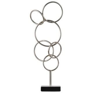 UTC31040: Metal Cascading Interlooping Circles Sculpture on Square Base Metallic Finish Silver