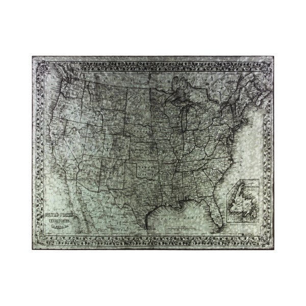 """Metal Etched Painting of the """"United States of America"""" Map Galvanized Finish Gray"""