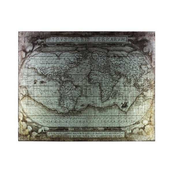 "Metal Etched Painting of ""Tyous Orbis Terrarum"" Map Galvanized Finish Gray"