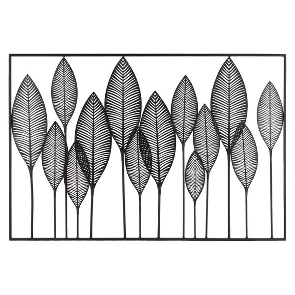UTC36184: Metal Wall Art of Leaves with Frame in Landscape Orientation Metallic Finish Black