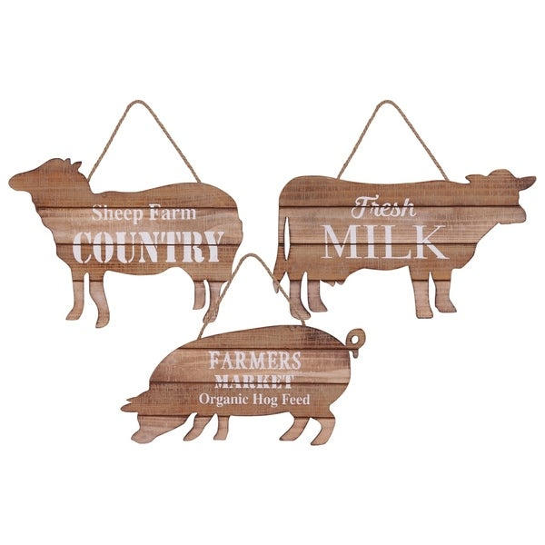 UTC53900-AST: Wood Wall Decor in Cow, Pig and Sheep Figure with Rope Handle and White Printed Text Assortment of 3 Brown